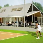 Tennis clubhuis met terras, gezien vanaf de tennisbaan.
