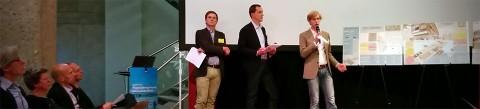 Presentatie van de banenmotor voor de jury.