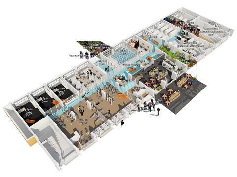 3D plattegrond van een naoorlogse winkelstrip die is herbestemd met onderwijs.