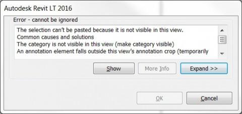 Foutmelding van Revit bij kopiëren van 2D group tussen views.